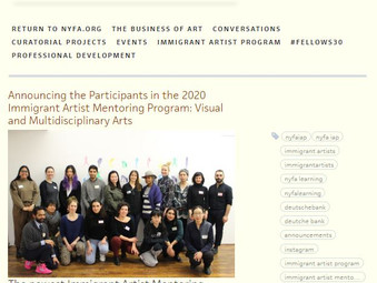 NYFA 2020 Immigrant Artist Mentoring Program