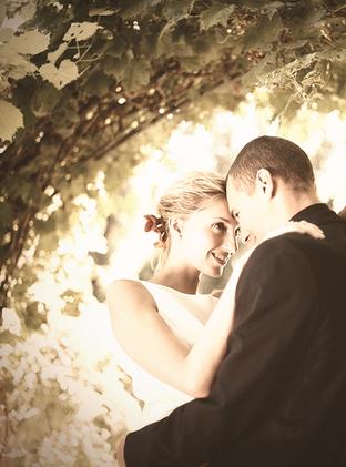 Hochzeitspaar unter Gartenlaube