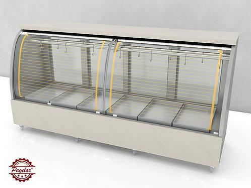 Expositor Frigorífico C/Gancheira Vidro Curvo 2500mm PAGELAR - Linha Dinamarca