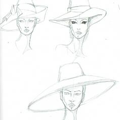 Schizzo donna con cappello