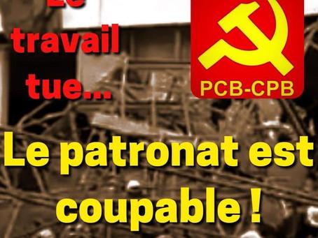 Anvers : le travail tue, le patronat est coupable!