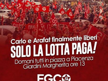 Victoire en Italie ! Carlo et Arafat, les deux délégués de Si.Cobas libérés