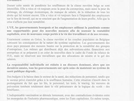 Message de solidarité du KKE et de la KNE à l'occasion de la grève nationale du 29 mars en Belgique