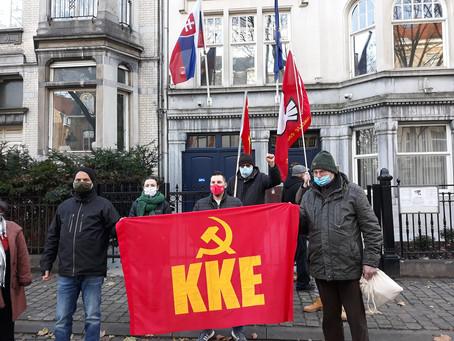 Rassemblement devant l'ambassade de Slovaquie, bijeenkomst voor de Slowaakse ambassade