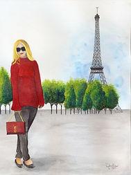 Summer in Paris, watercolor and color pencil