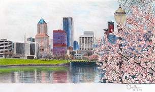 Portand Skyline from SE Waterfront, color pencil illustraton