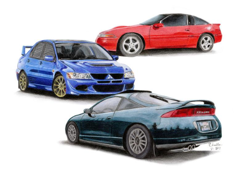 Mitsubishi 1990 & 95 Eclipses and 2005 Evo