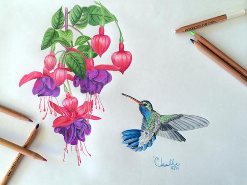Memorial for a Mother - Hummingbird and Fuchsias
