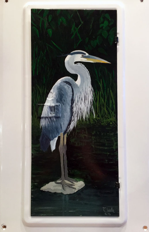 Blue Heron painted with enamel paints on a metal electrical box door