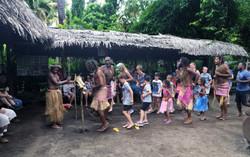 tourists dancing