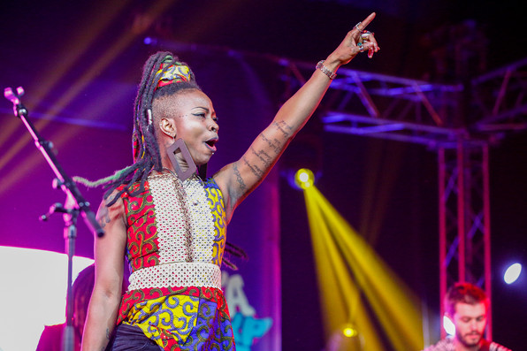 Dobet Gnahore performs at Africa Express