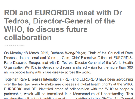 RDI and EURORDIS meet with Dr Tedros, Director-General of the WHO, to discuss future collaboration