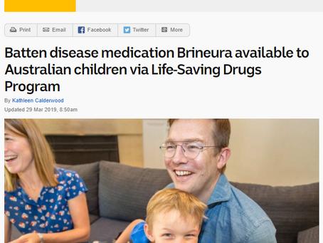 Batten disease medication Brineura available to Australian children via Life-Saving Drugs Program
