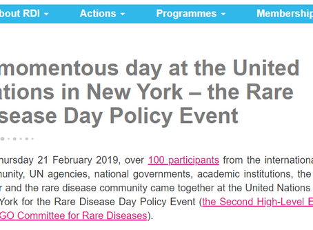 A momentous day at the United Nations in New York – the Rare Disease Day Policy Event