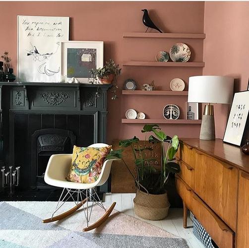 Blush coloured room with Reptila Cushion