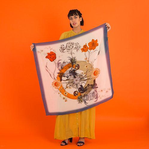 'Crustacean Silk' is Hand-illustrated, square Silk Scarf