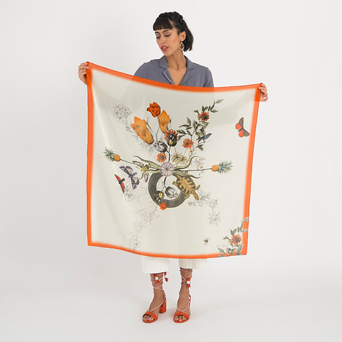 'Algonquain Silk' is Hand-painted, square Silk Scarf