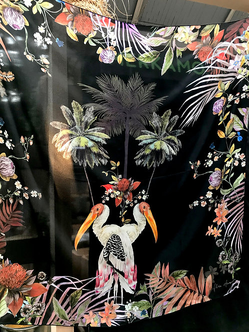 """Colourful Black Silk scarf, """"Sibling"""" botanical design large Silk scarf with tro"""
