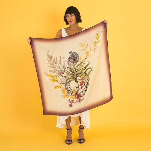 'Akkadian Silk' Hand-painted, square Silk Scarf from the Evolution Collectio