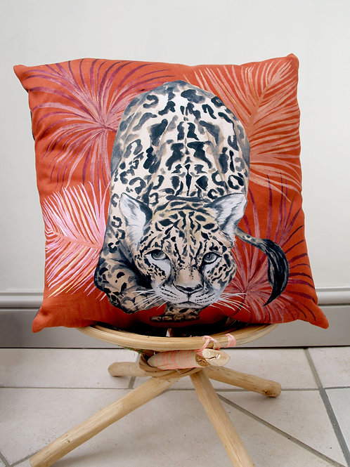 Orange Cushion with palm leaves and stalking leopard design 'Prowl' Vegan Suede
