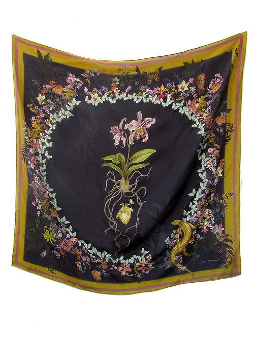 "Floral Silk Scarf ""Cardiac Silk"" black large scarf with orchid design"