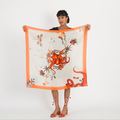 'Oracle Silk' is Hand-painted, square Silk Scarf from the Evolution Collection