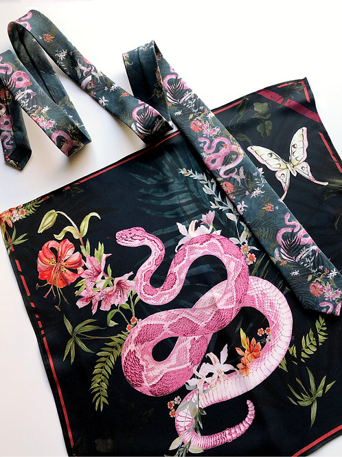Handrolled Silk Pocket Square & tie in Navy Blue with pink serpent