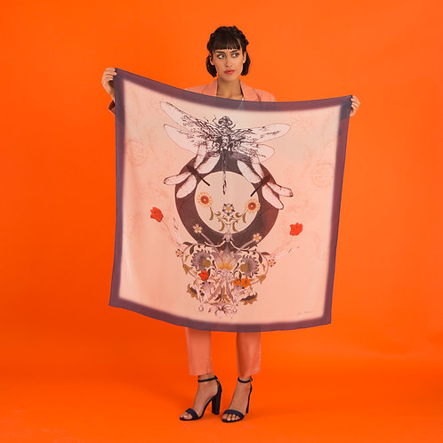`Dragonfly Silk' Hand-painted, square Silk scarf from the Evolution Collection
