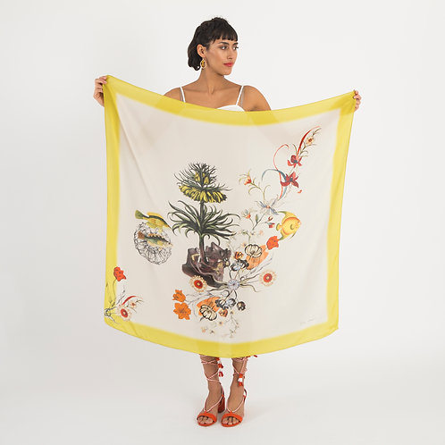 'Arecaceae Silk' is Hand-painted, square Silk Scarf