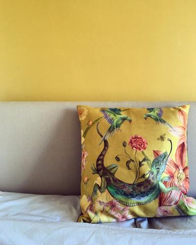 Reptila Vegan Suede cushion with yellow