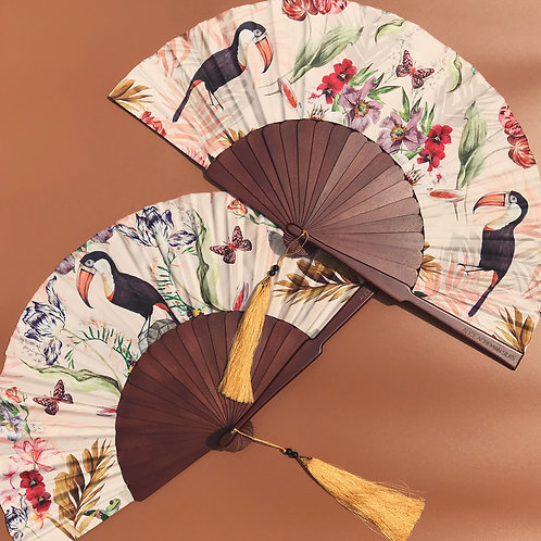 Floral Silk Fan with Toucan design and luxurious Gold tassle, part of Mysa Colle