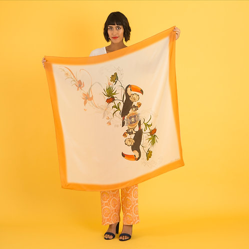 'Toucan Silk' is Hand-painted, square Silk