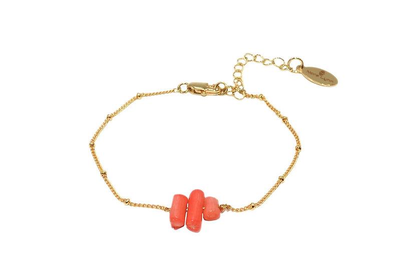 Bracelet Naîssata Corail (plaqué or)