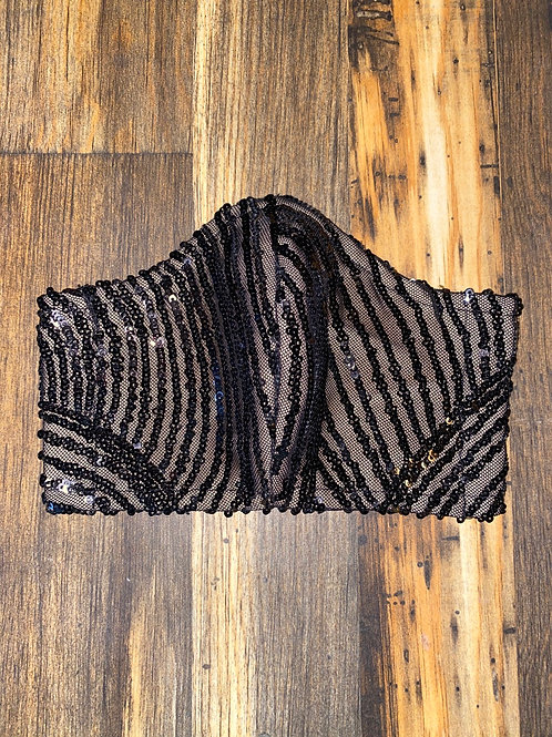 sequin/black mesh 3-layer mask
