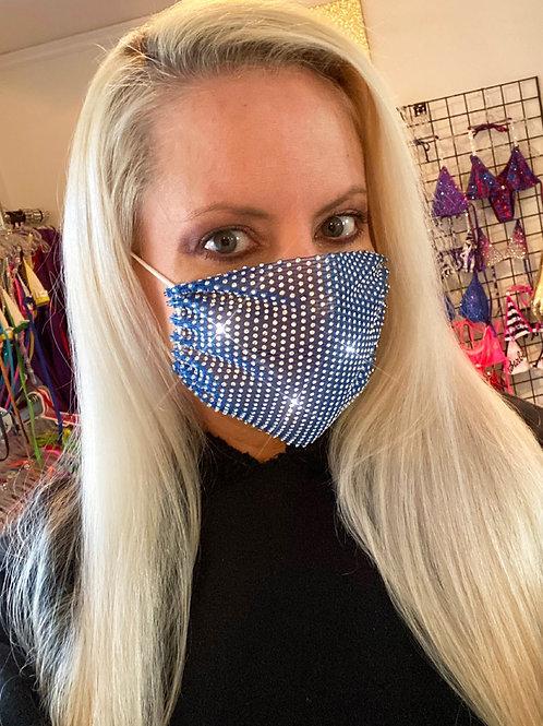 Crystal net mask-royal blue crystal