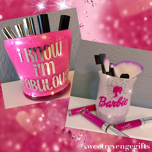 2 makeup brush holders