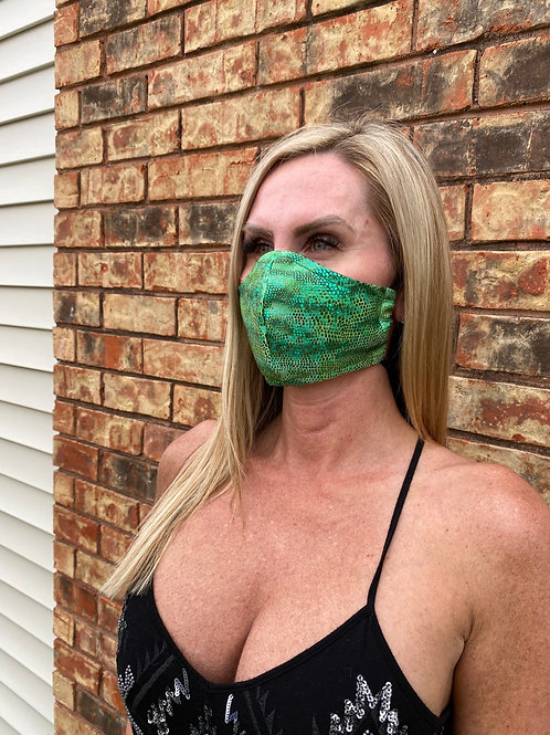 Green metallic lizard WOMEN's 3-layer mask