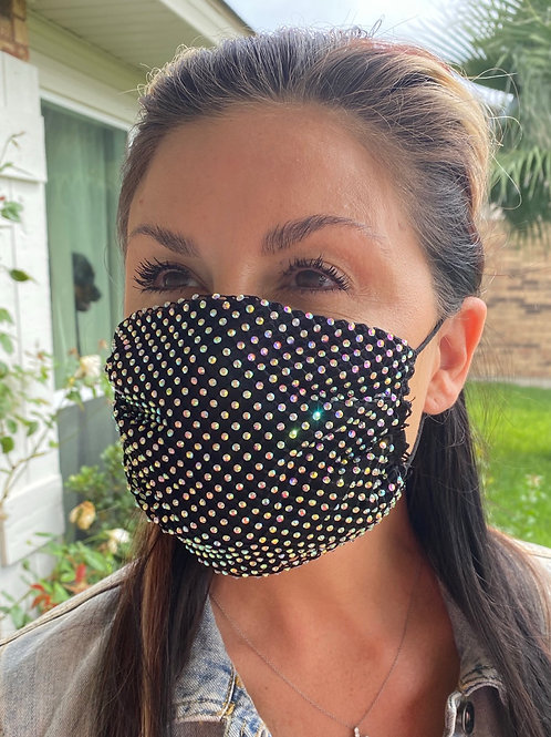 Crystal net/cotton mask-black