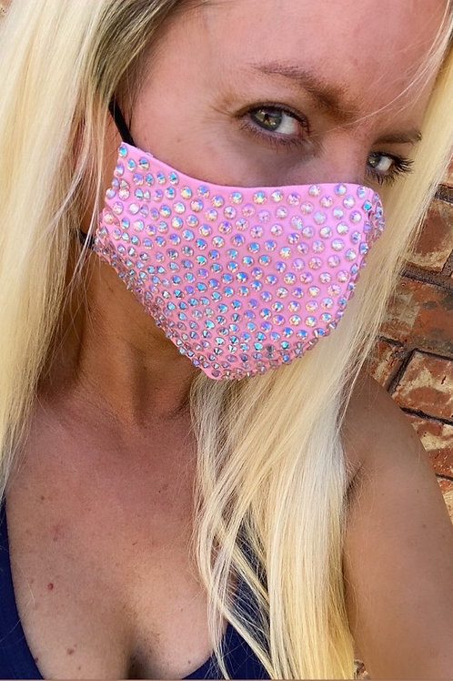 Baby pink crystal WOMEN's 3-layer mask