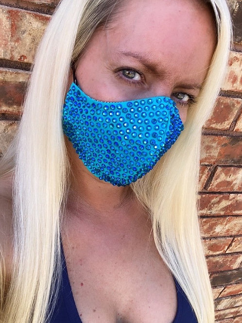 Turquoise crystal WOMEN's 3-layer mask