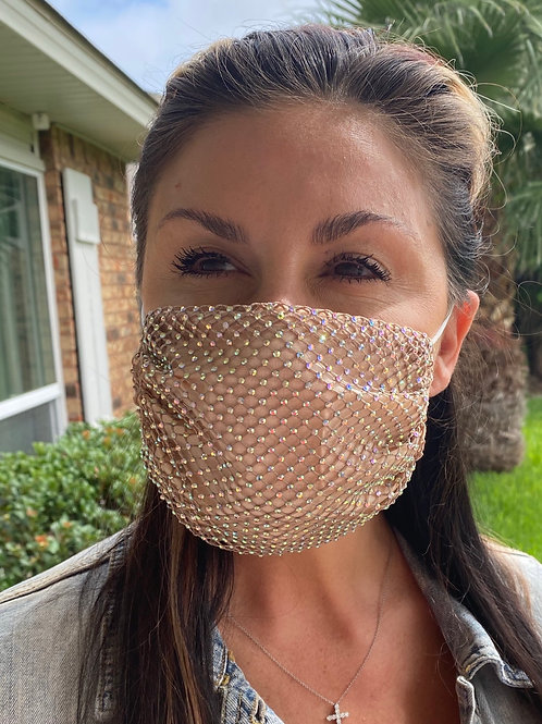Crystal net/cotton mask-nude