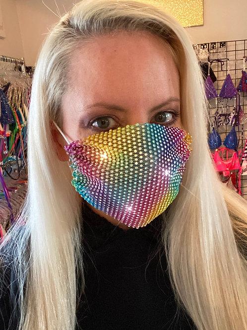 Crystal net mask-rainbow tie dye