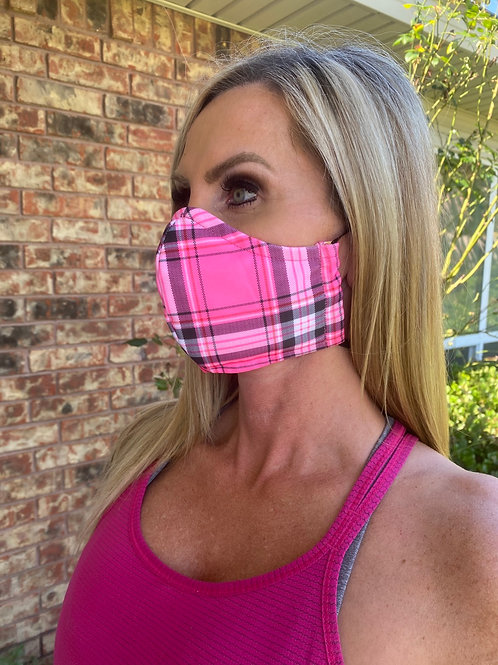 Pink/black plaid WOMEN's 3-layer mask