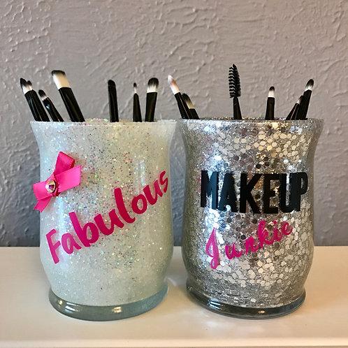 Set of 2 makeup brush holders