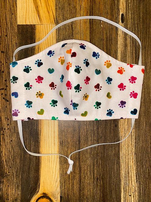 CHILD's rainbow paw print 3-layer mask