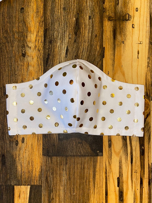 White/gold polka dot WOMEN's 3-layer mask