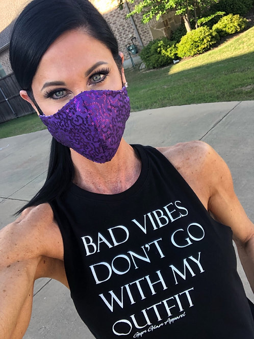 Purple sequin WOMAN's 3-layer mask