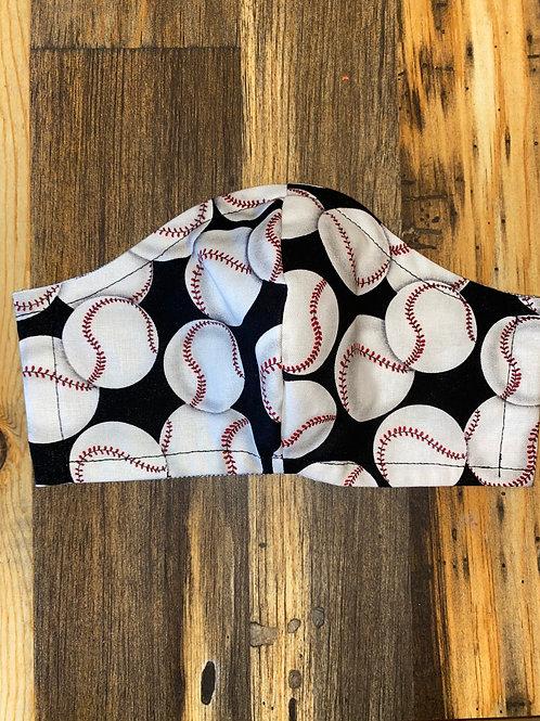 Baseball ⚾️ on black MEN's 3-layer mask