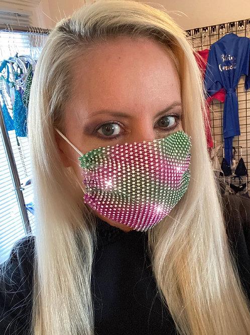 Crystal net mask-pink/green crystal