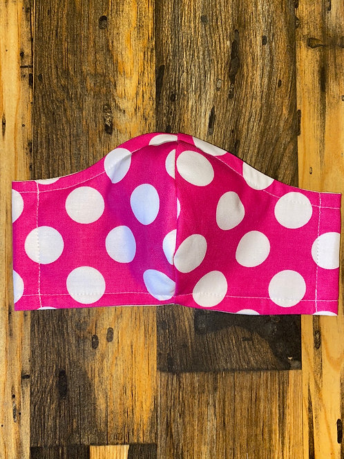 Hot pink polka dot WOMEN's 3-layer mask